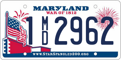MD license plate 1MD2962