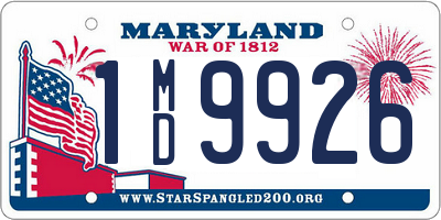 MD license plate 1MD9926