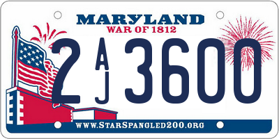 MD license plate 2AJ3600
