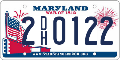 MD license plate 2DH0122