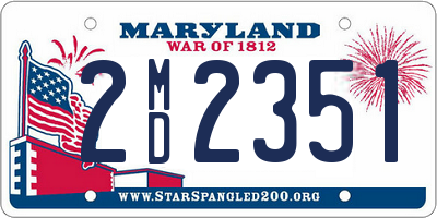 MD license plate 2MD2351