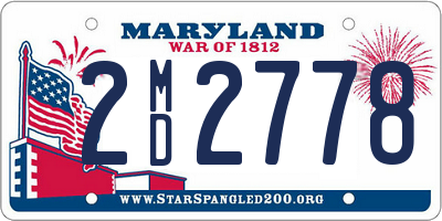 MD license plate 2MD2778