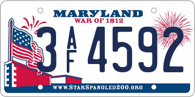 MD license plate 3AF4592