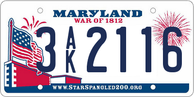 MD license plate 3AK2116