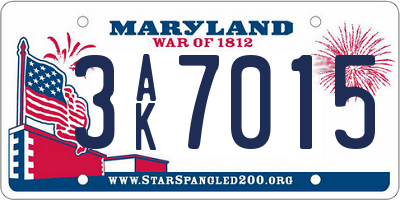 MD license plate 3AK7015