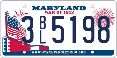 MD license plate 3BL5198