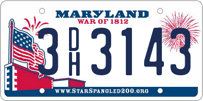 MD license plate 3DH3143