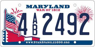 MD license plate 4AB2492