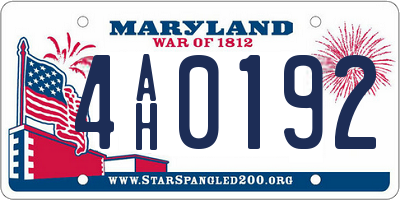 MD license plate 4AH0192