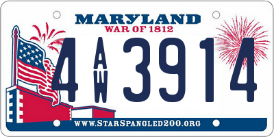 MD license plate 4AW3914