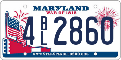 MD license plate 4BL2860