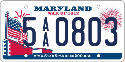 MD license plate 5AA0803