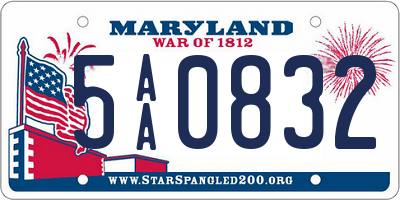 MD license plate 5AA0832