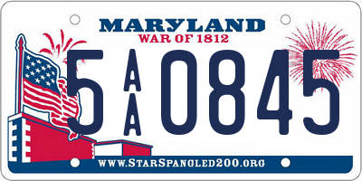 MD license plate 5AA0845