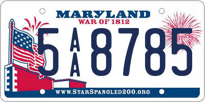 MD license plate 5AA8785