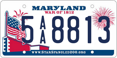 MD license plate 5AA8813