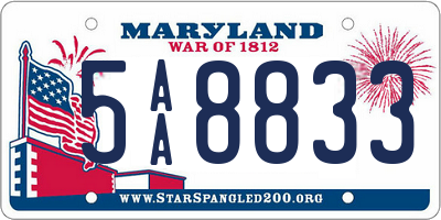 MD license plate 5AA8833