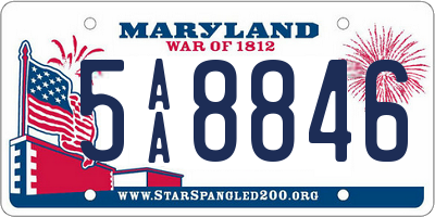 MD license plate 5AA8846