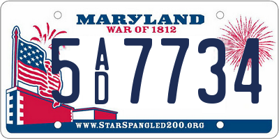 MD license plate 5AD7734