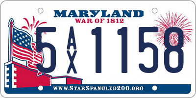 MD license plate 5AX1158