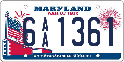 MD license plate 6AA1361