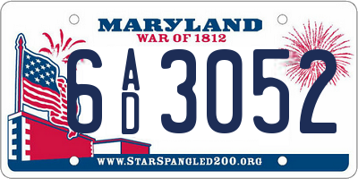 MD license plate 6AD3052