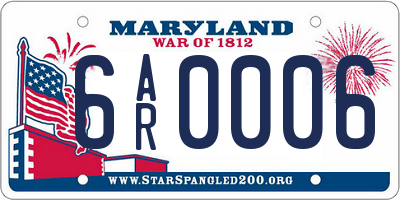 MD license plate 6AR0006