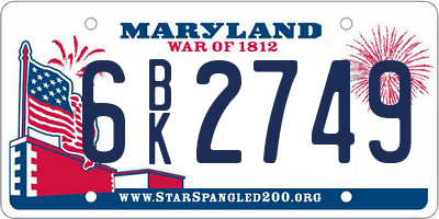 MD license plate 6BK2749