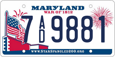 MD license plate 7AD9881