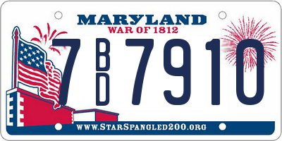 MD license plate 7BD7910