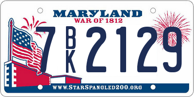 MD license plate 7BK2129
