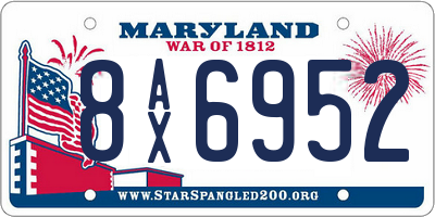 MD license plate 8AX6952