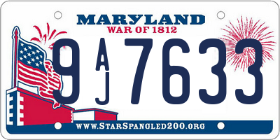 MD license plate 9AJ7633