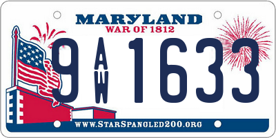 MD license plate 9AW1633