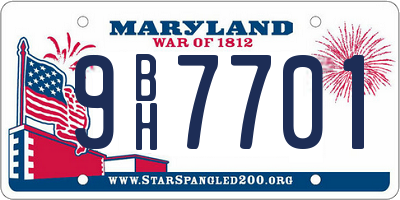 MD license plate 9BH7701