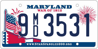 MD license plate 9MD3531