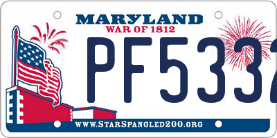 MD license plate PF5332