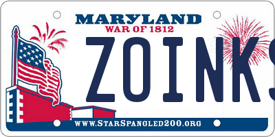 MD license plate ZOINKS
