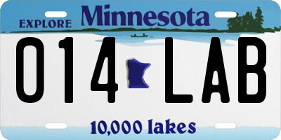 MN license plate 014LAB