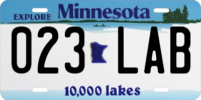 MN license plate 023LAB