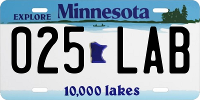 MN license plate 025LAB