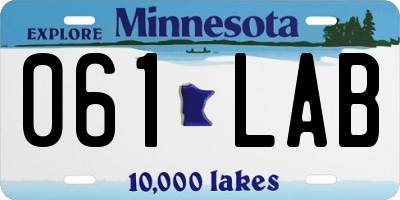 MN license plate 061LAB