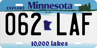 MN license plate 062LAF