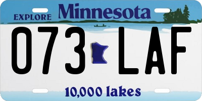 MN license plate 073LAF
