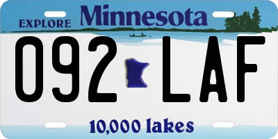 MN license plate 092LAF