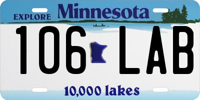 MN license plate 106LAB