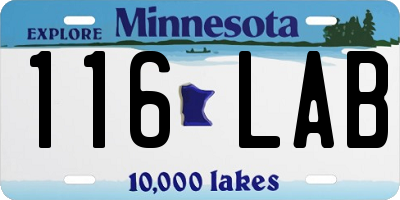 MN license plate 116LAB