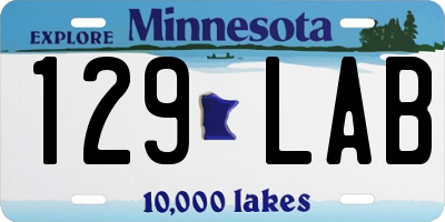 MN license plate 129LAB
