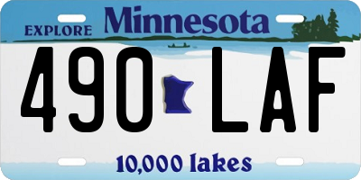MN license plate 490LAF