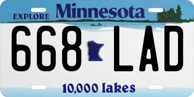 MN license plate 668LAD